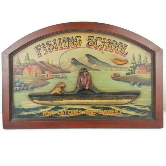 3D Painted Wood Sign Fishing School Antique Style